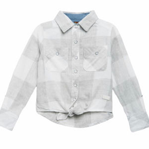 7 For All Mankind Girls Flannel Tie Front Shirt L